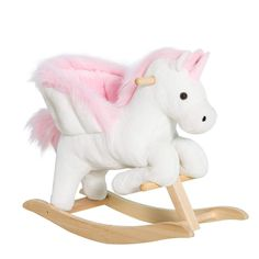 Shop for Qaba Kids Wooden Plush Ride-On Unicorn Rocking Horse Chair Toy with Sing Along Songs. Get free delivery On EVERYTHING* Overstock - Your Online Toys & Hobbies Shop! Unicorn Rocking Horse, Kids Rocking Horse, Plush Rocking Horse, Baby Girl Toys, Toys For Girls, My Baby Girl, Kids Ride On Toys, Kids Toys, Cool Bicycles