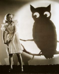 Halloween: 1930s movie actress June Lang and an enormous owl