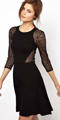 Cheap French Connection Vienna Lace Skater Dress with Full Skirt online - All Products,Fashion Dresses,Skater Dresses Slim Fit Dresses, Casual Dresses, Short Dresses, Fashion Dresses, Women's Fashion, Fashion Black, Beautiful Black Dresses, Beautiful Clothes, Patchwork Dress