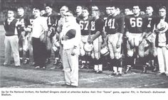 The national anthem before kickoff of the Pitt-Oregon football game in 1957 at Multnomah Civic Stadium in Portland. From the 1958 Oregana (University of Oregon yearbook). www.CampusAttic.com