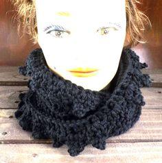Crochet Scarf Crochet Infinity Scarf Crochet Cowl Scarf Black Scarf LAUREN Crochet Scarf by strawberrycouture by #strawberrycouture on #Etsy