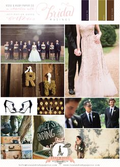 Rustic Gold, Black and Moss Green Wedding Inspiration Board
