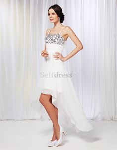 Pear Hourglass Ivory Misses Sleeveless Spaghetti Straps Jewel Accented Spring Cocktail Dress/ Homecoming