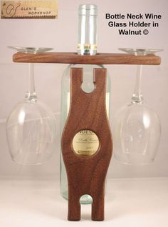 Wine Glass Holder Bottle Neck Glass Holder in Walnut