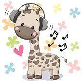 Girafa com fones de ouvido