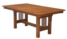 Amish Mission Trestle Table Mission style is so versatile. This table is handcrafted and the beautiful craftsmanship shows. Custom wood tables from DutchCrafters can be enjoyed for generations. #diningtables #woodtable