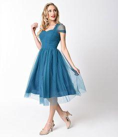 Garden state mesh dress, Teal - Kjoler - Manillusion