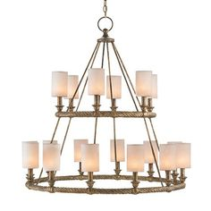 Stunning in size and scope, the Westbourne Chandelier is great design brought to epic proportions. Two tiers of wrought iron rings, meticulously forged to resemble rope, bear eighteen lights with streamlined linear supports. A glimmering Textured Gold finish adds depth to this otherwise straightforward style, which can be enhanced with White Linen shades.  Material: Wrought Iron Finish: Textured Gold  Shade: Shown with Optional White Linen Shades