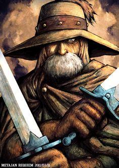 1boy 80s beard facial_hair hat hat_over_one_eye kaze_no_tani_no_nausicaa kei-suwabe male_focus old_man oldschool solo studio_ghibli sword weapon yupa