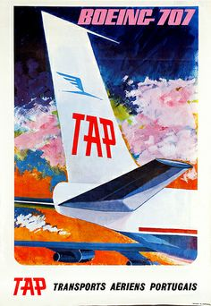 TAP Boeing 707 vintage airline poster