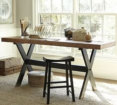 X-Base Desk #potterybarn  Hmm...love how it looks like a work table more than a desk.