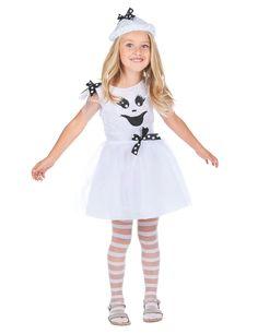 Déguisement fantôme fille : Ce déguisement de fantôme pour fille se compose d'une robe, d'un chapeau et d'une paire de collants (chaussures non incluses). Le haut de la robe est blanc dans un tissu...