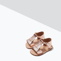 FRINGE DETAIL LEATHER SANDALS-Shoes-MINI | ZARA United States