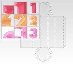 Lettere e numeri tridimensionali di carta