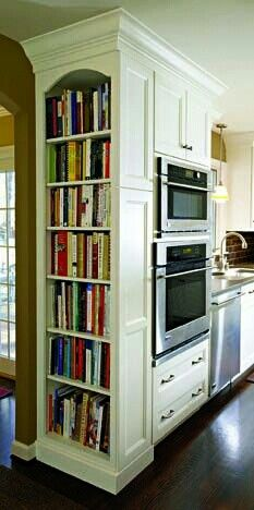 A Perfect Home Library? – Shelf Bookcase – Ideas of Shelf Bookcase A Perfect Home Library? – Shelf Bookcase – Ideas of Shelf Bookcase – A tall shelf built into kitchen cabinets keeps cookbooks reachable & their colorful spines Kitchen Redo, New Kitchen, Kitchen Storage, Kitchen Ideas, Kitchen Bookshelf, Smart Kitchen, Kitchen Pantry, Awesome Kitchen, Pantry Ideas