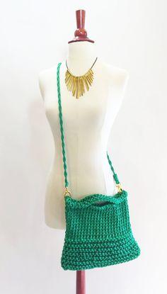 Women Crossbody bag Knit Boho Handbag Green by agirlnamedsoo