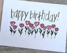 Hand-designed color birthday card, birthday card hand-drawn flower  #birthday #color #designed #drawn #flower