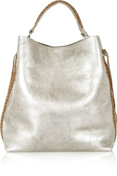 Ralph Lauren Collection Laced Metallic Leather Tote in Silver | Lyst