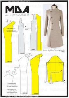 num 0104 dress o Coat Patterns, Dress Sewing Patterns, Clothing Patterns, Coat Pattern Sewing, Pattern Drafting, Fashion Sewing, Diy Fashion, Ideias Fashion, Womens Fashion