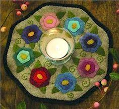 Free Wool Felt Patterns | Bareroots Flowers Candle Mat Wool Felt Pattern