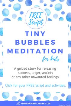 Tiny Bubbles is a guided meditation for kids using bubble imagery to help kids release any unwanted emotions that may be trapped inside of them. Meditation Kids, Meditation Scripts, Mindfulness For Kids, Meditation For Beginners, Mindfulness Activities, Daily Meditation, Mindfulness Practice, Mindfulness Meditation, Mindful Activities For Kids