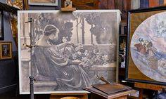 I arbetsateljén står den här kolteckningen som är en skiss till Rosenbojor målad 1914. Oil, Artists, Painting, Painting Art, Paintings, Painted Canvas, Artist, Drawings, Butter