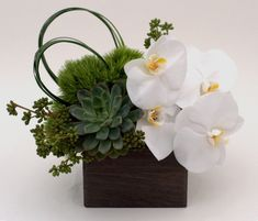 New flowers arrangements orchids ikebana ideas Modern Floral Arrangements, Orchid Arrangements, Wedding Flower Arrangements, Floral Centerpieces, Wedding Flowers, Centerpiece Wedding, Decor Wedding, White Orchid Centerpiece, Wedding Decorations