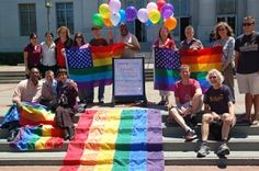 Members of LavenderCal — UC Berkeley LGBT employees and allies — gathered on the Sproul steps at noon Wednesday to celebrate the historic Supreme Court decisions supporting same-sex marriage. (NewsCenter photo by Jean Smith)