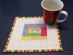 Quilted Trapezoid Shaped Mug Rug by Clothstitched on Etsy