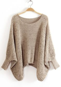 Khaki Irregular Hollow-out Bat Sleeve Blend Sweater
