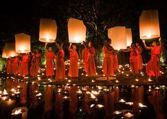 Monks Releasing Lanterns During Loy Krathong in Chiang Mai, Thailand