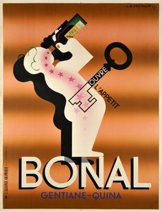 "Bonal ouvre l'appétit, first edition. Great Art Deco poster by A.M. Cassandre the Master of the cubist style in publicity. Bonal, a French bitter-Quina ""open your appetite"" like a key."