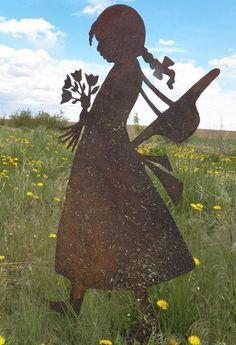 Bildergebnis f r silhouette kinder blume streetart for Gartenschmuck aus metall