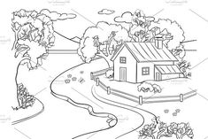 Spring landscape coloring book vector by AlexArt on Coloring Pages Nature, Spring Coloring Pages, Preschool Coloring Pages, Coloring Pages For Boys, Animal Coloring Pages, Coloring Book Pages, Printable Coloring Pages, Coloring Sheets, Nature Drawing For Kids