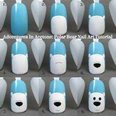 Uñas decoradas con osos polares | Decoración de Uñas - Manicura y NailArt