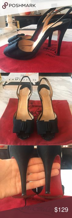 """Christian Louboutin Jolie Noeud Slingback Heels Preowned (these were my first pair!!) Christian Louboutin Jolie Noeud slingback black pumps size 37. These run a bit small so if you're a 36.5-37 they will work better for you. Satin shoe with a squareish peep toe. 100mm. Beautiful """"deco"""" style bow. Comes with dustbag. Shoes show wear but so beautiful!! Need a little love and they could look brand new! Happy shopping ! Christian Louboutin Shoes Heels"""