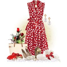 """#64 Red Polka Dot Dress"" by lauriereeve on Polyvore"