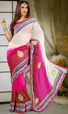 Trendy Off White and Pink Faux Georgette Party Wear Saree - IG9128 USD $ 72.76