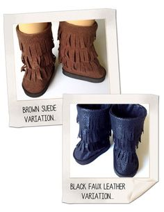 "* tells foam size  Fringe Boot 18"" Doll Shoes pattern"