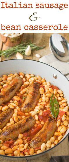 Italian sausage and bean casserole is delicious and easy comfort food all made in one pan. Sweet Italian sausage is cooked with cannellini beans, fresh Roma tomatoes and fresh rosemary for a flavorful, warming and comforting dish. Sausage And Bean Casserole, Casserole Dishes, Casserole Recipes, Skillet Recipes, Skillet Meals, Italian Sausage Recipes, Sweet Italian Sausage, Sausage Meals, Turkey Sausage