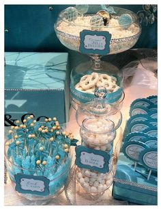 Tiffany Themed Wedding - Candy and Dessert Buffet idea, chocolate desserts, dessert buffet, tiffany blue, tiffani theme, tiffani blue, candi buffet, baby blues, parti