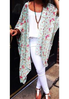 Floral Print Kimono. Fall in love with this sheer chiffon kimono with floral print featuring a cutout back and crop sleeves.