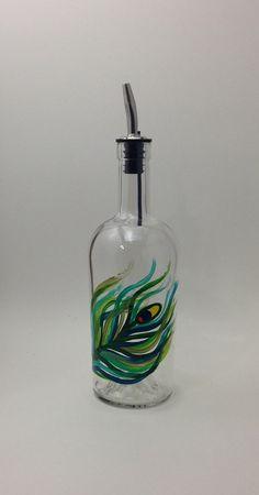 Peacock Olive Oil or Soap Bottle