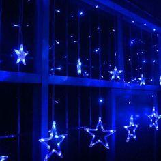 Star Curtain Lights 11 Stars 138 LEDs Window Curtain Lights 8 Modes LED String Fairy Light for Wedding Party Christmas Halloween Decorations, Blue Blue Aesthetic Grunge, Blue Aesthetic Pastel, Dorm Lighting, Apartment Lighting, Blue Wallpaper Iphone, Blue Wallpapers, Neon Azul, Christmas Window Lights, Blue Neon Lights