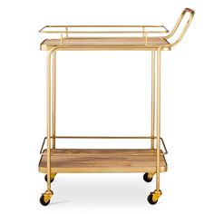 Get ready for your next big gathering with the Metal, Wood and Leather Bar Cart – Threshold. You'll enjoy serving your guests their drinks to order with this modern mixed material bar cart.