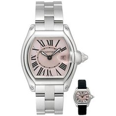 @Overstock - Stainless steel case, small model   Pink lacquer dial, Roman numerals   Luminescent sword-shaped black oxidized steel hands   Sold with interchangeable straps   Steel bracelet, deployant buckle   Cartier calibre 688 quahttp://www.overstock.com/Jewelry-Watches/Cartier-Roadster-Womens-Stainless-Steel-Watch/3158746/product.html?CID=214117 $3,799.99