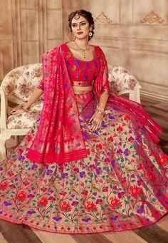 Golden and Pink Banarasi Silk Lehenga Choli With Multi Colored Floral Weaving Lehenga Choli With Price, Pink Lehenga, Lehenga Choli Online, Designer Bridal Lehenga, Indian Bridal Lehenga, Indian Gowns Dresses, Indian Outfits, Indian Clothes, Banarasi Lehenga