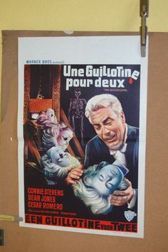 TWO ON A GUILLOTINE (1964) ORIGINAL VINTAGE BELGIAN MOVIE POSTER (FREE SHIPPING)