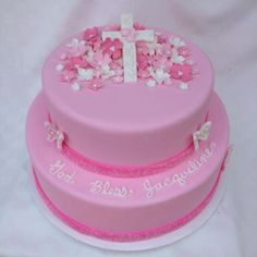 Pink communion cake Communion Cakes, First Communion, Pink Sweets, Confirmation Cakes, Birthday Cake, Birthday Parties, Cookie Decorating, Cake Ideas, Holi