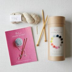 Knitting Kit created in collaboration with Purl Soho. Kit includes 2 skeins of Purl Soho's Super Soft Merino wool, pair of birch knitting needles, yarn needle for finishing and a full-color photograph instruction booklet.